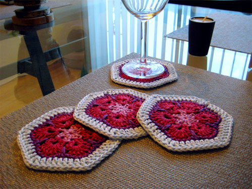 African Flower Crochet Coasters